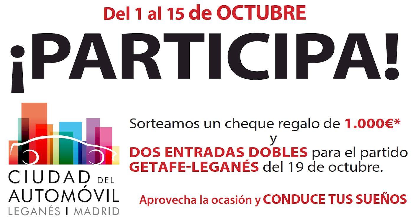Ciudad del Automóvil sortea un cheque regalo de 1.000 € y de dos entradas dobles para el partido entre el Getafe CF y el CD Leganés, del 19 de octubre de 2019