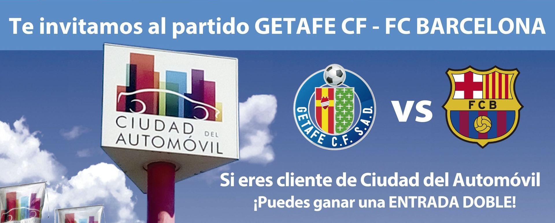 Ciudad del Automóvil sortea dos entradas dobles para el partido Getafe CF vs FC Barcelona del 28 de septiembre de 2019